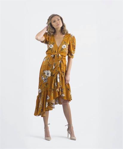 שמלת פרחים אסימטרית - גוון מנגו