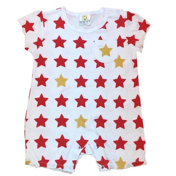 אוברול קצר הדפס כוכבים אדום