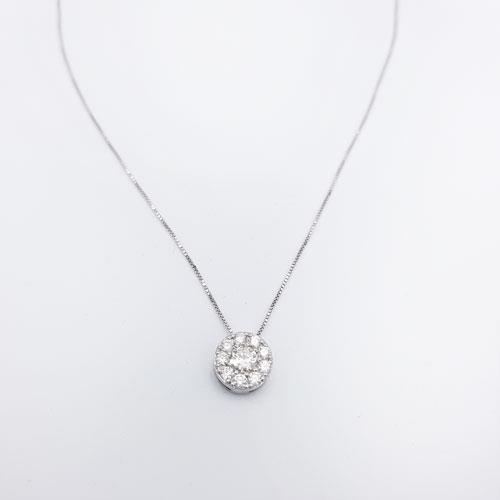 שרשרת זהב לבן משובצת יהלומים