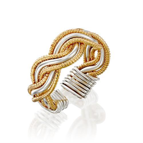 טבעת קלועה לבן צהוב