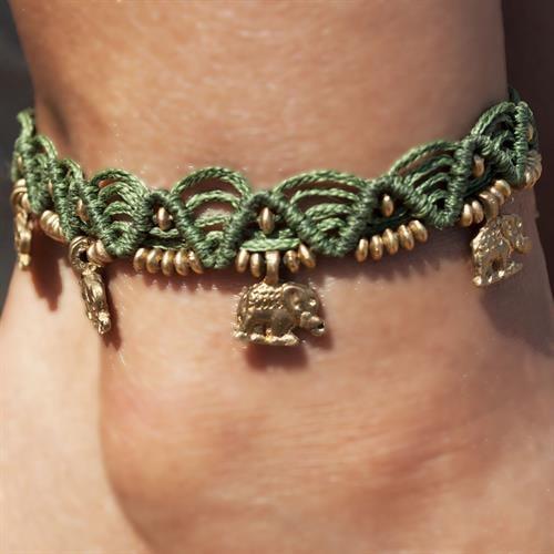 צמיד רגל מקרמה ירוק חאקי פילים