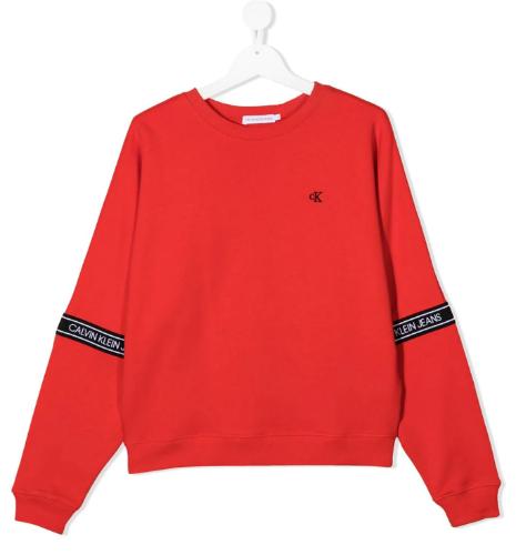 פוטר אדום כיתוב בשרוול - Calvin Klein - מידות 4 עד 16 שנים