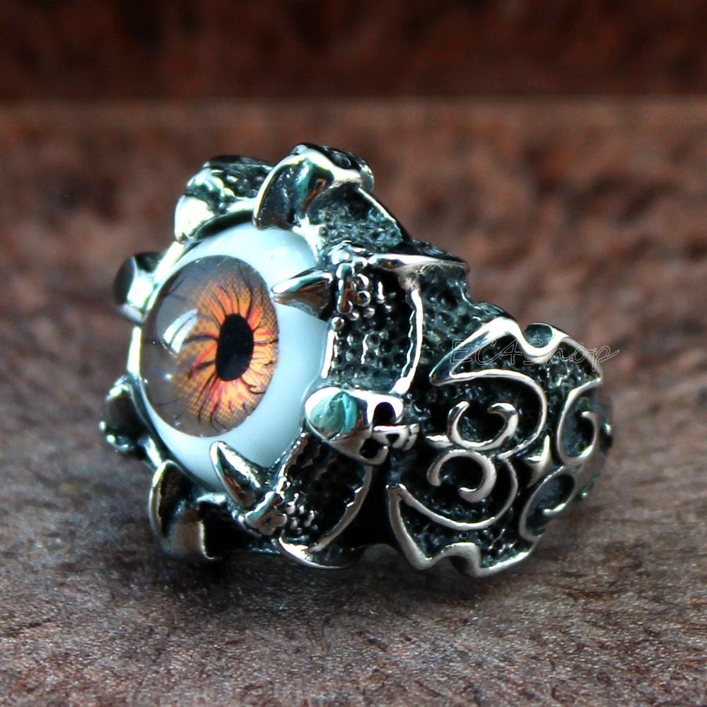 טבעת פלדה (Stainless steel) גברים ונשים עין דרקון חומה OP08170032BR-IN