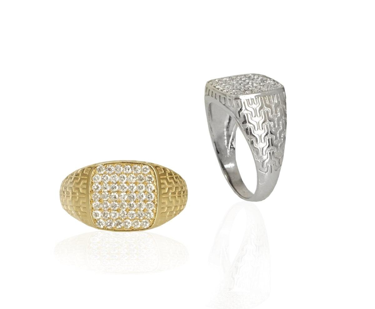טבעת לגבר זהב משובצת יהלומים מרובעת