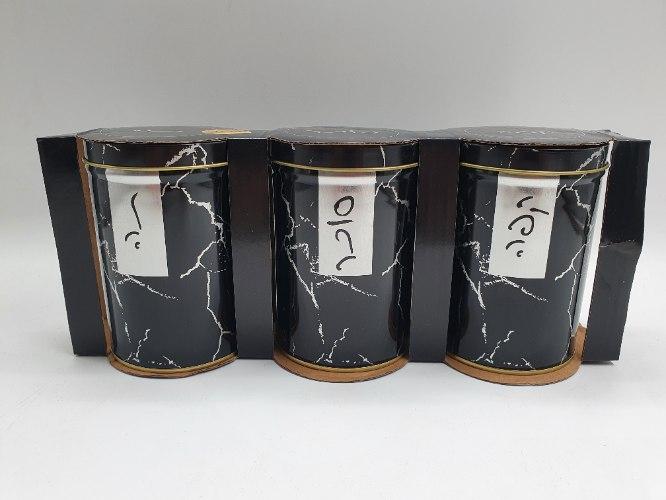 סט שלישיית כלים לתה קפה סוכר ממתכת שיש שחור