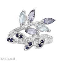 טבעת מכסף משובצת אבני טופז כחולה, טנזנית ואבני ספיר RG6160 | תכשיטי כסף 925 | טבעות כסף