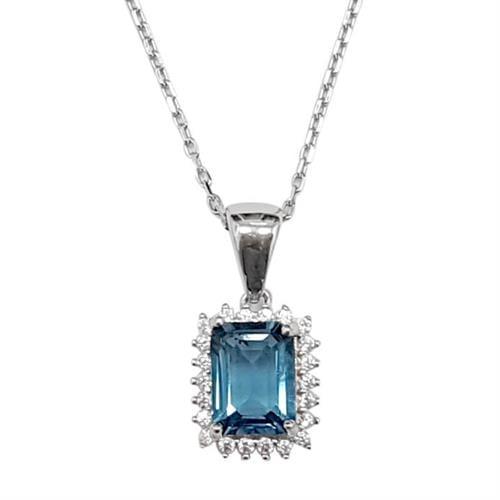תליון מכסף  משובץ אבן טופז כחולה ואבני זרקון T5993 | תכשיטי כסף