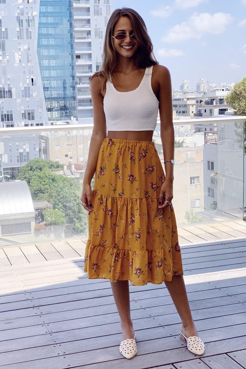חצאית בוהו סן מיגל חרדל