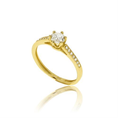 טבעת יהלומים  0.74 קראט בזהב 14 קרט | תעודה גמולוגית IGL מקורית