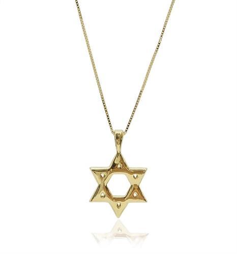 שרשרת ותליון מגן דוד זהב (קטן)