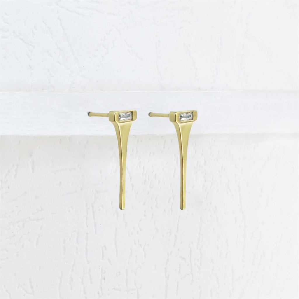 עגילי Tapered Bar זהב 14K