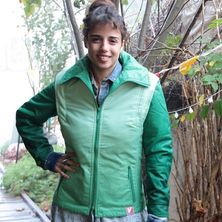 מעיל סקי סבנטיז נדיר ירוק משגע מידה M/L