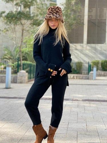 חליפת סריג  דגם לורן שחור