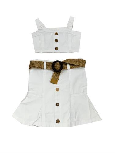 חליפת חצאית לבנה עם חגורה - 2-16