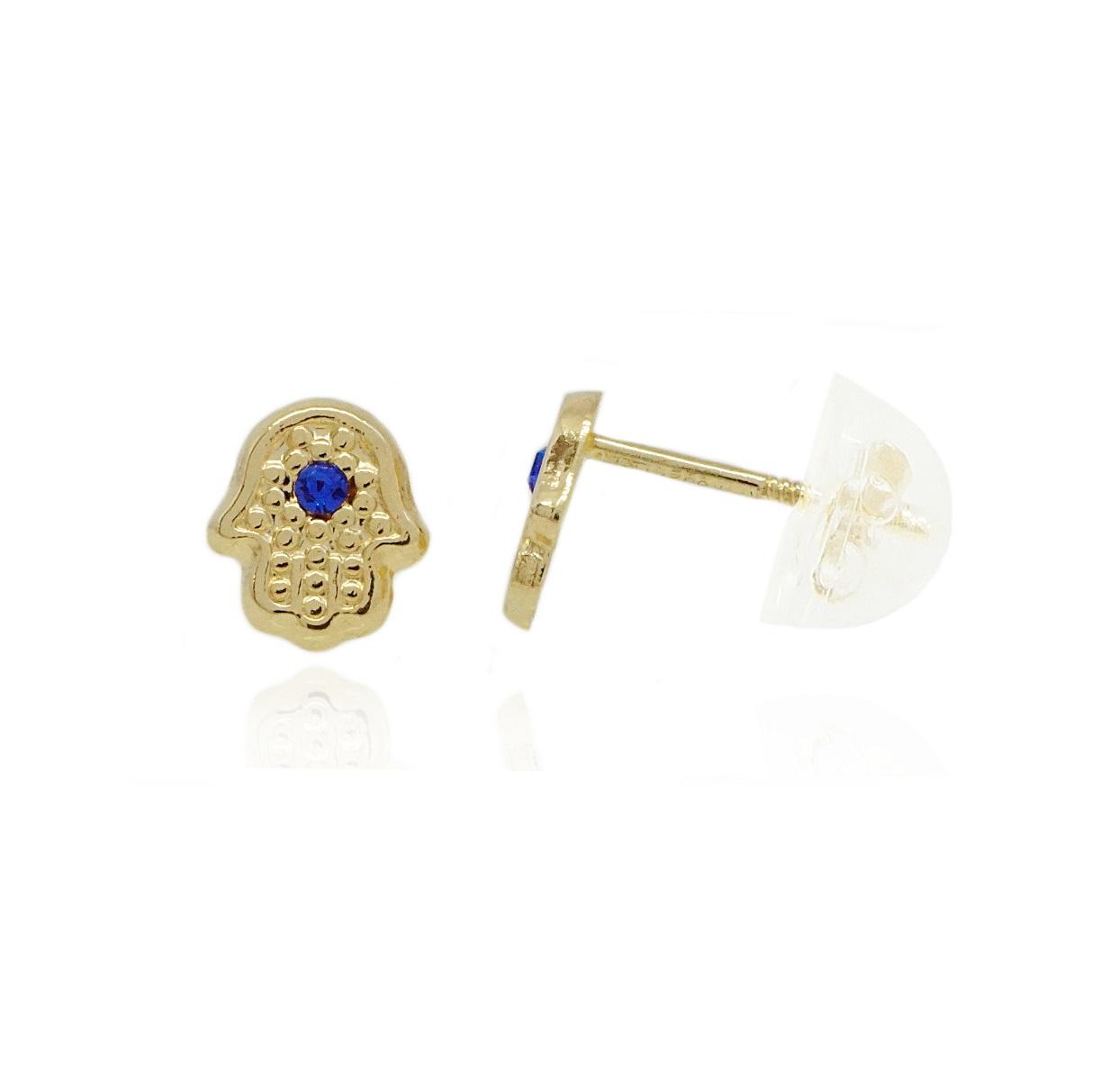 עגילי זהב 14 קראט בסגנון חמסה עם זרקונים כחולים