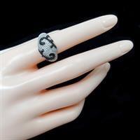 טבעת כסף משובצת אבני זרקון שחורות ולבנות RG5527 | תכשיטי כסף | טבעות כסף