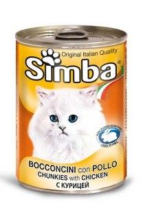 שימור מזון מלא לחתולים סימבה עם בשר עוף 400 גרם - SIMBA CHUNKS WITH CHICKEN