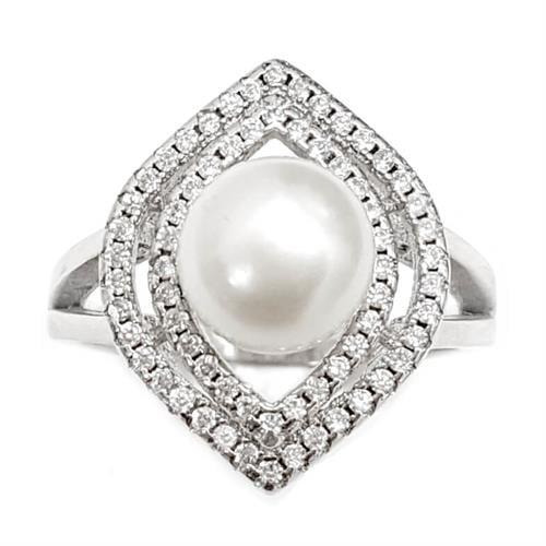 טבעת מכסף משובצת פנינה לבנה וזרקונים RG5960 | תכשיטי כסף 925 | טבעות עם פנינה