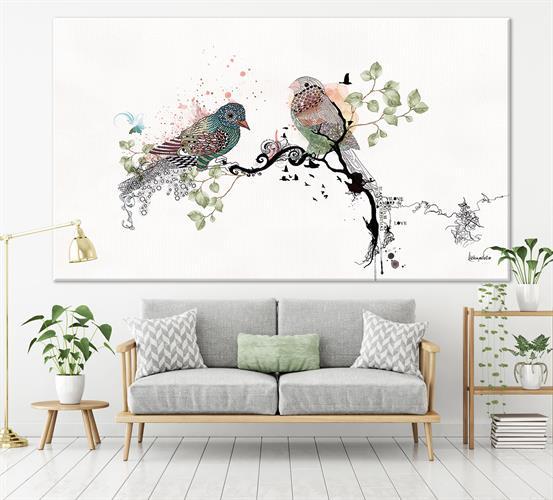הדפס קנבס - ציפורי אהבה