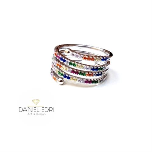 טבעת נחש צבעונית- כסף