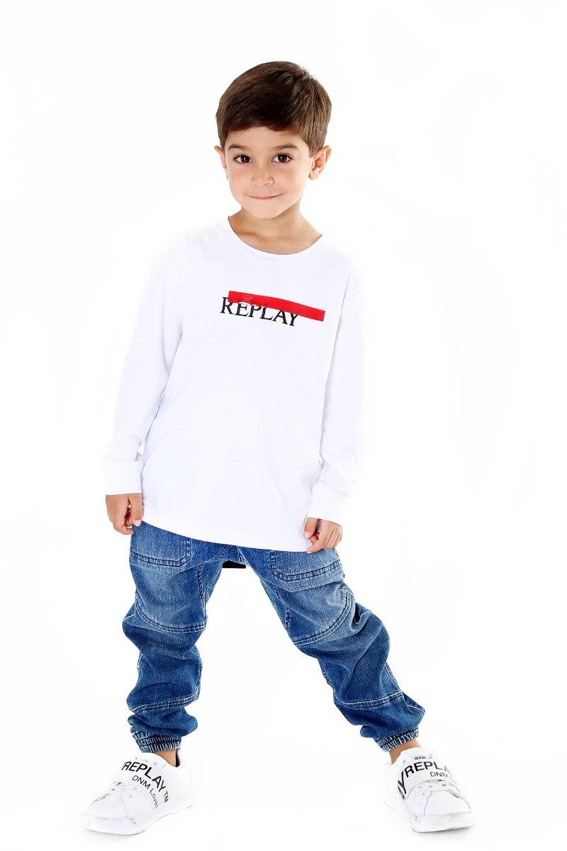 חולצת T לבנה פס אדום REPLAY