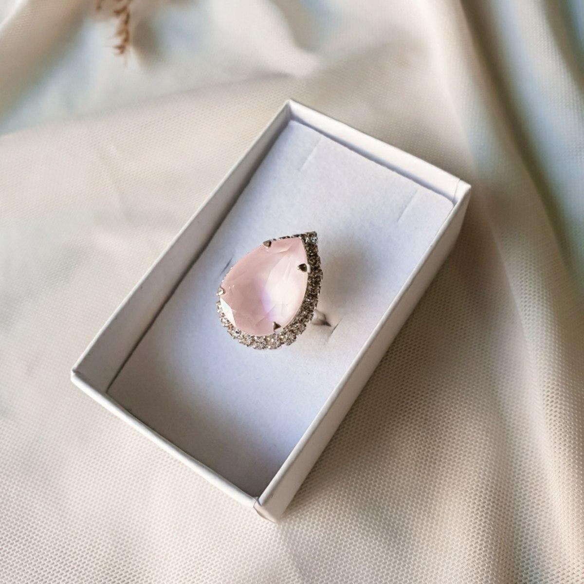 טבעת טיפה - ורוד בהיר כסף
