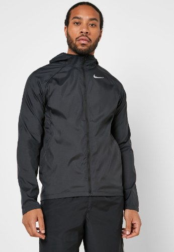 NIKE מעיל רוח שחור עם לוגו