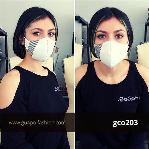 מסכת בד מעוצבת לבנה face mask