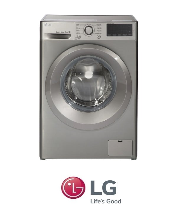 "LG מכונת כביסה 6 ק""ג כסוף  דגם F-0610WS"