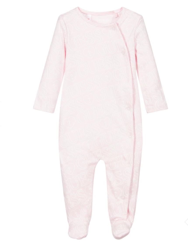 אוברול תינוקות ורוד בייבי GUESS בנות  - 0-6 חודשים