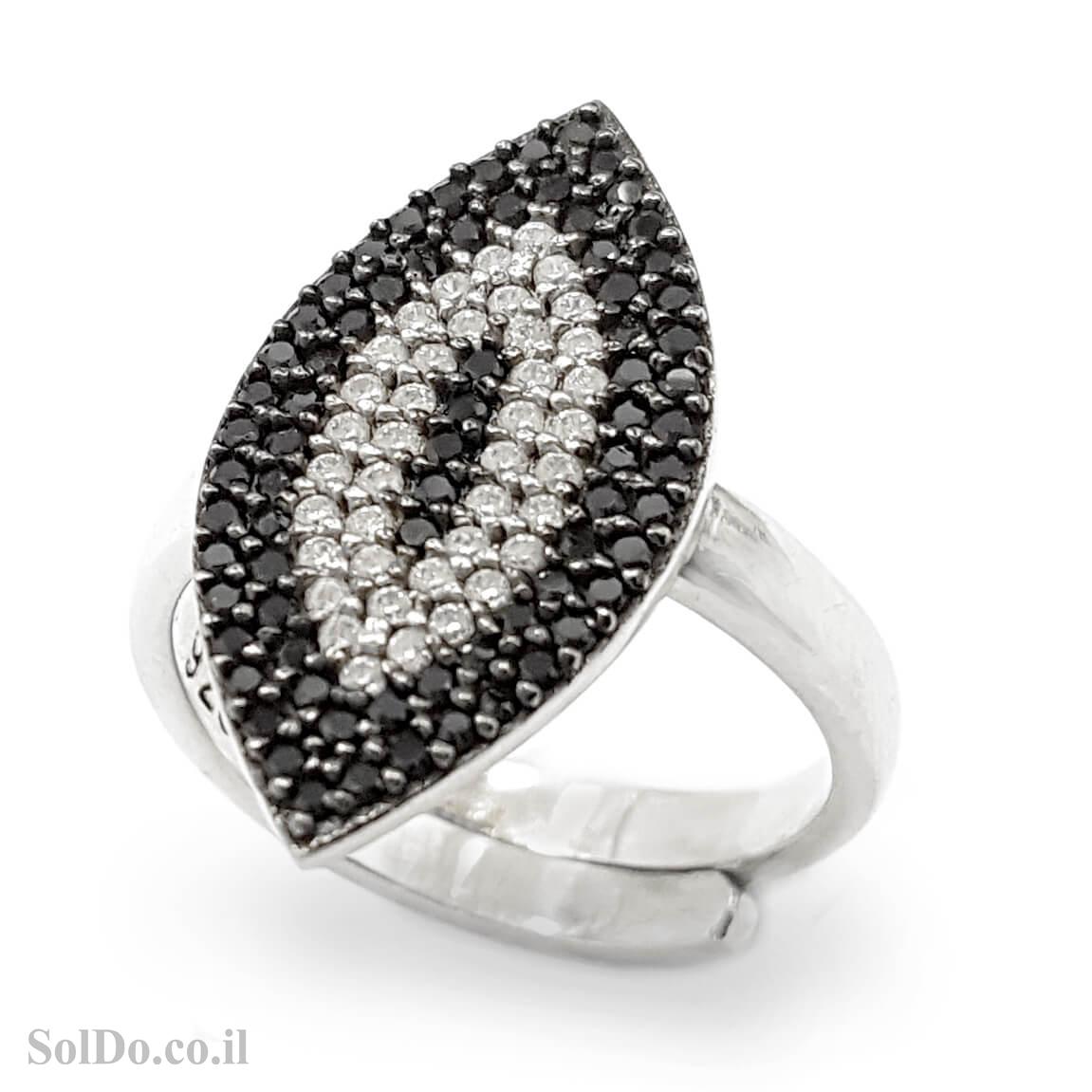 טבעת מכסף משובצת אבני זרקון שחורות ולבנות RG1611 | תכשיטי כסף | טבעות כסף