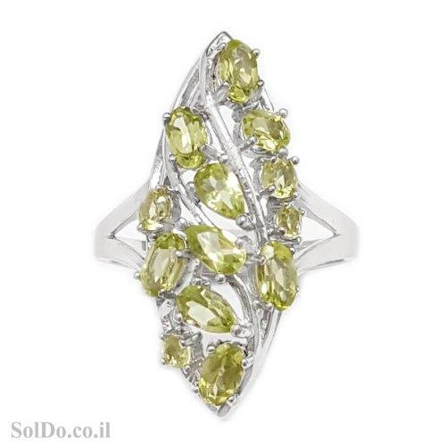 טבעת מכסף משובצת אבני פרידוט  RG8872 | תכשיטי כסף 925 | טבעות כסף