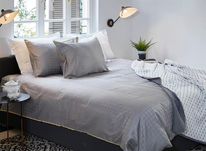 סט מלא מיטה וחצי דגם קוביות אפור כותנה מצרית