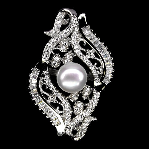 טבעת משובצת פנינה לבנה וזרקונים RG1804 | תכשיטי כסף 925
