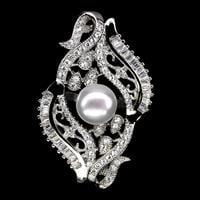 טבעת משובצת פנינה לבנה וזרקונים RG1804   תכשיטי כסף 925