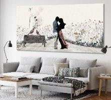 תמונה גדולה רומנטית של זוג לסלון