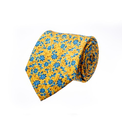 עניבה דגם פרחים גדולים צהוב כחול