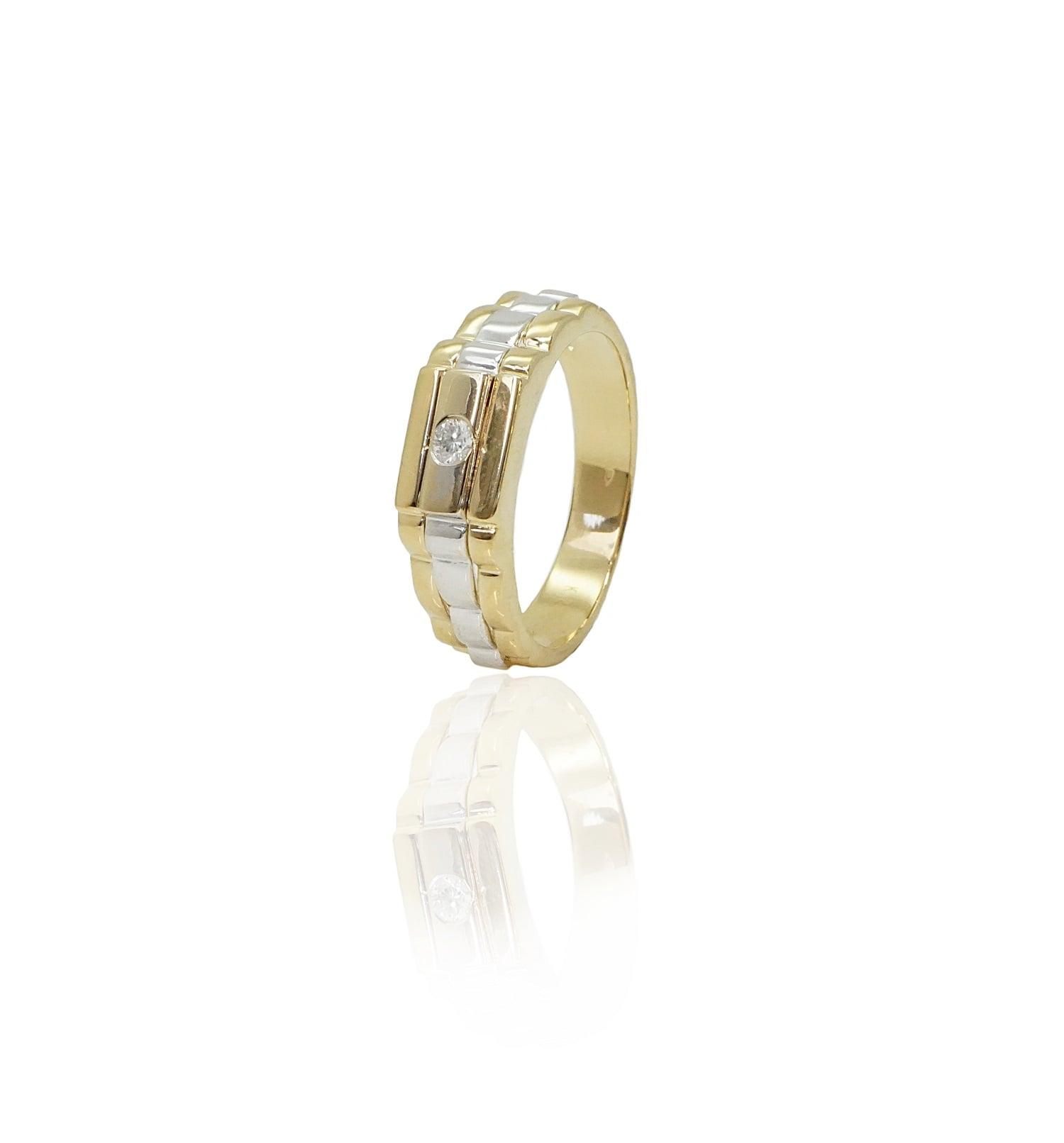 טבעת זהב לגבר עם יהלום