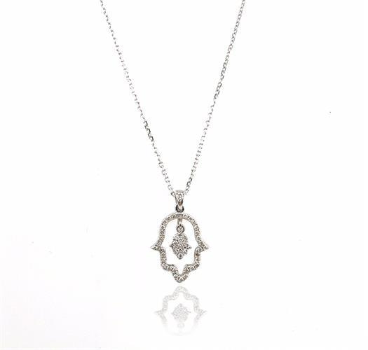שרשרת ותליון זהב 14 קרט חמסה משובץ יהלומים 0.24 קראט