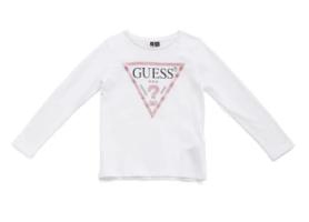 טי שירט לבנה לוגו GUESS רוז גולד בנות - 2-7 שנים