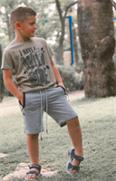 מכנס בנים אפור עם שרוכים