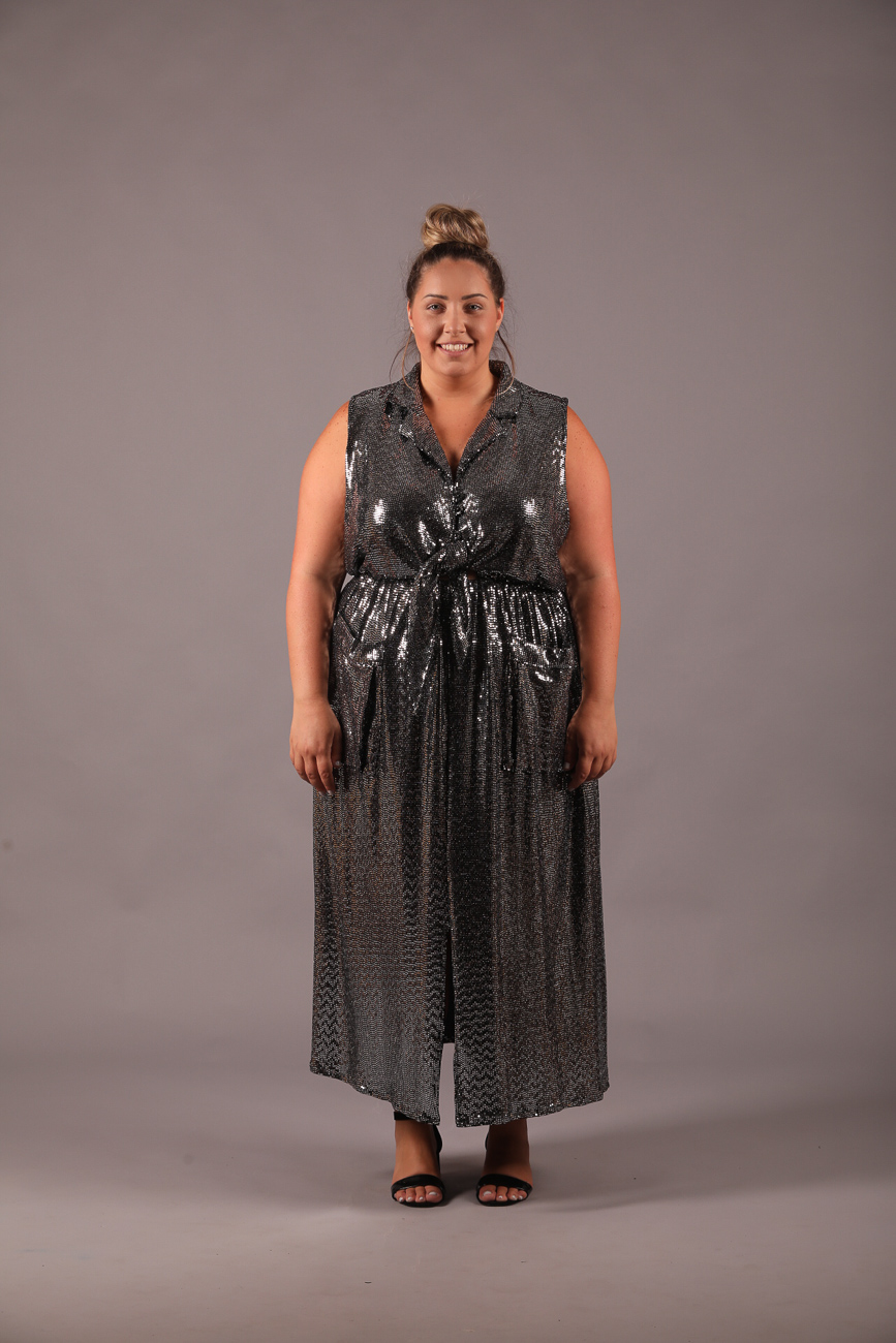 שמלת סמנתה ערב פייטים כסף