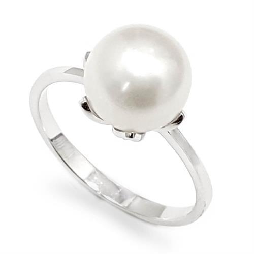 טבעת מכסף משובצת פנינה לבנה RG5959 | תכשיטי כסף 925 | טבעות עם פנינה