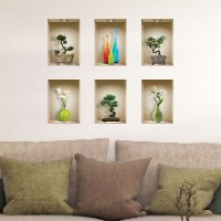 שישיית מדבקות נישה כוורת עם עציצי בונסאי ובקבוקי זכוכית צבעוניים דגם 680