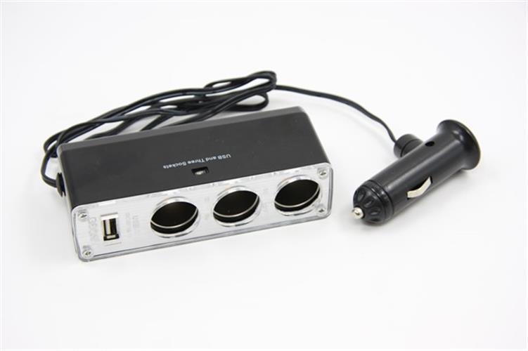 מפצל מצת לרכב עם 3 יציאות כולל USB