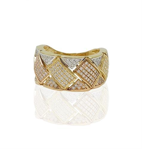טבעת זהב רחבה עם זרקונים בשלושה צבעים ורוד,לבן וצהוב