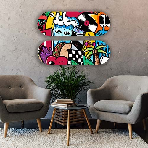 ציור פופ ארט צבעוני לבית של האמן כפיר תג'ר