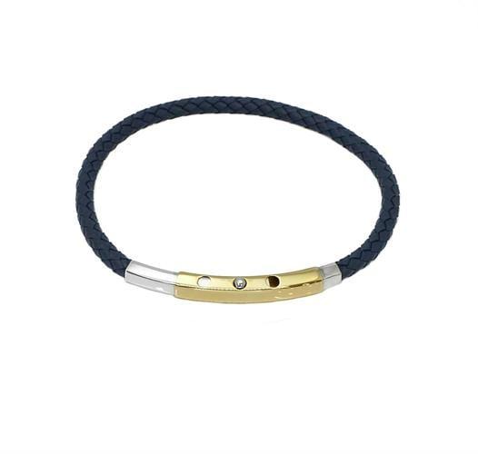 צמיד עור לגבר קלוע ומשולב זהב 14 קרט בצבע כחול רויאל