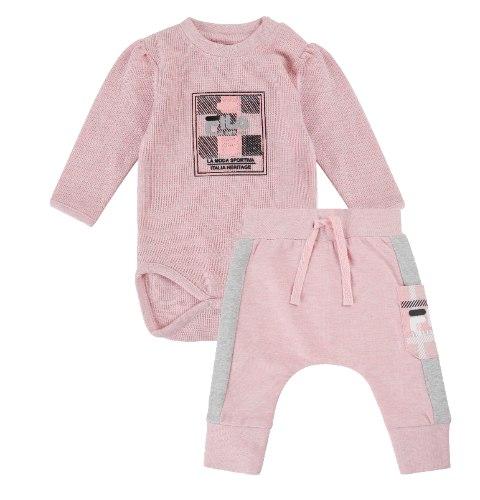 חליפת בייבי ורודה - בנות - nb עד 12 חודשים