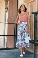 חצאית מעטפת לבנה פרח ורוד-סגול
